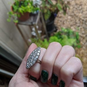 Genuine diamond navette ring not stamped